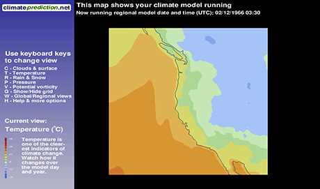 weather@home model image showing temperature across the Pacific North West of the US