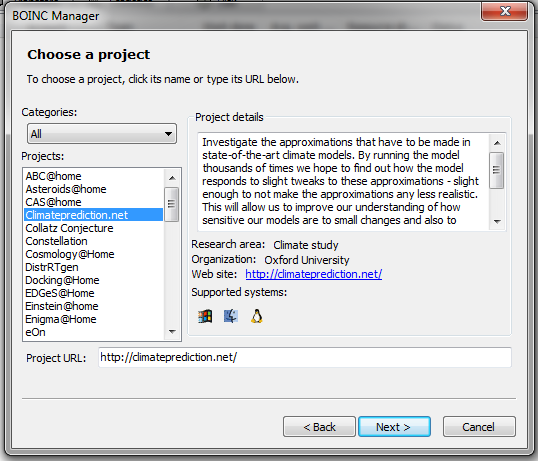 BOINC choose a project