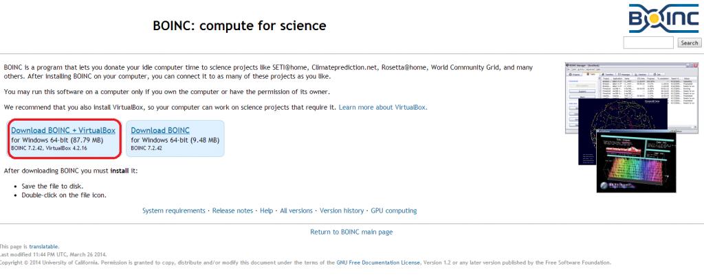 BOINC download website